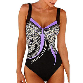 Traje De Baño Completo Surf Playa Estampado Bikini Para Dama