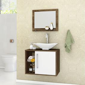 Gabinete Armário Para Banheiro Com Pia Baden Avelã Branco