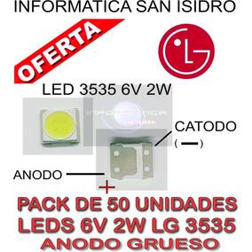 Pack 50 Led 6v 2w 3535 Backlight Leds Tv Lg Anodo Grueso