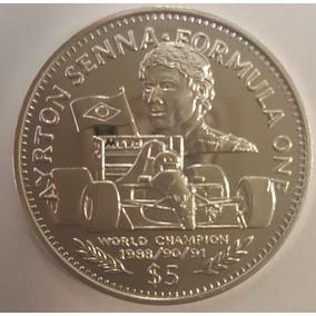Moeda Prata Ayrton Senna Libéria 5 Dollars Com Certificado