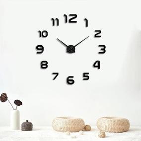 Reloj 3d Paed Grande Minimalista 120 Cm Negro, Plata Y Rojo