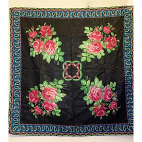 Pashmina Fina Cuadrada Diseño Rosas