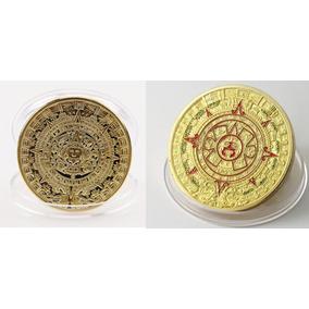 2 Moedas Calendário Asteca E Maia (banho Ouro) Frete Grátis