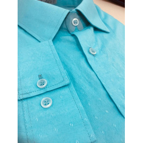 Nº 9 - Camisa Masculina Azul Ciano Relevo - M.longa