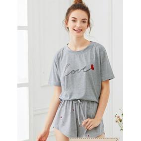 Pijama Blusa Y Short Love Para Dama