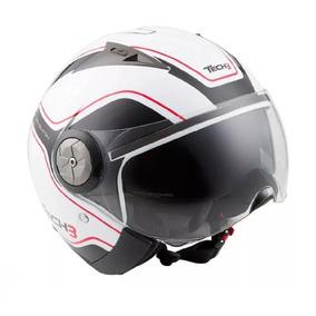 Capacete Tech3 B216 Reventon Moto C/ Viseira Solar Branco