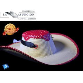 Sombrero Calentano Hecho A Máquina De Astilla Bordado Rojo