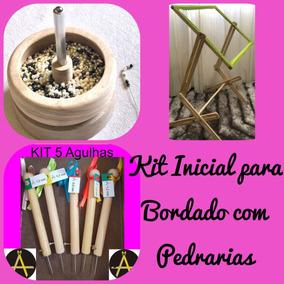 Kit Potinho Giratório+bastidor+ 5 Agulhas Bordado Lunévile