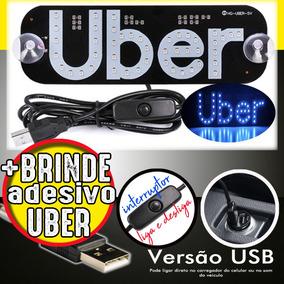 Placa Uber Usb Led Letreiro + Frete R$12 Brinde 99 Cabify