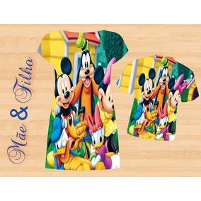 Vestido Adulto + Blusa Masc. Infantil - Mickey E A Turma