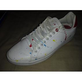 Tenis Blancos Marca Lob Diseño Gotas De Colores T: 27.5