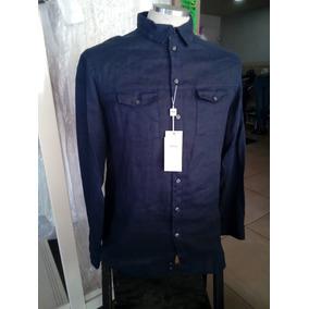 Armani Collezioni Camisa Lino Azul Oscuro