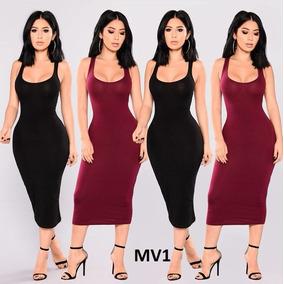Vestidos Largos Casuales Unicolor - Vestidos de Mujer en Mercado ... a71e1d780835