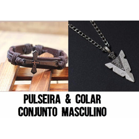 Conjunto Colar Pingente Seta + Pulseira Crucifixo Couro