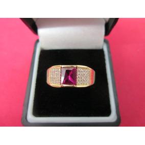 36204ad9c50b Anillo Caballero Oro Sólido 10 Kilates Con Rubi Y Zirconias.