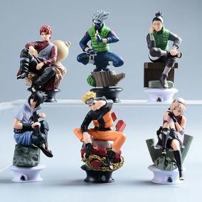 Kit 6 Bonecos Action Figure Naruto Sasuke Kakashi Gaara