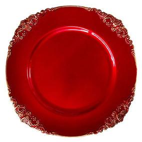 33aab158d26 8 Sousplat Supla Vermelho Arabesco Mesa Buffet Festa Natal