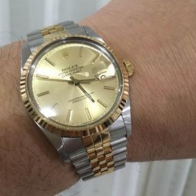 550220387bf Rolex Datejust Aço E Ouro Todo Original Pulseira Sem Folgas