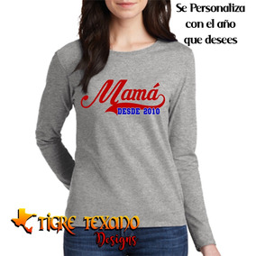 Playera Manga Larga Mamás Mom Madres M15 T T Designs