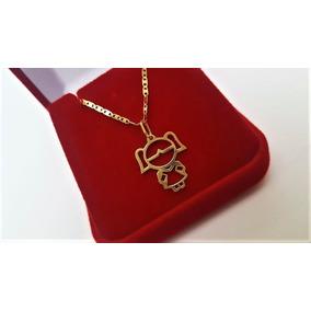 Cordão De Ouro 18 K Piastrine C/ Ping Menino Ou Menina 45cm