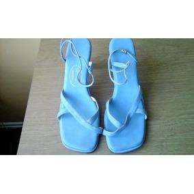 Hermosas Sandalias Elegantes En Cuero Azul