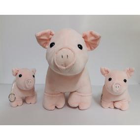 Kit Família Porco Rosa Em Pé 38 Cm E 19 Cm - Pelúcia