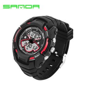 a10d542e9b4 Relógio De Pulso Masculino Preto Com Vermelho Borracha Novo