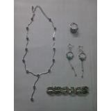 Set De Collar Piedras Azules, Pulsera, Anillo... Usado Otros