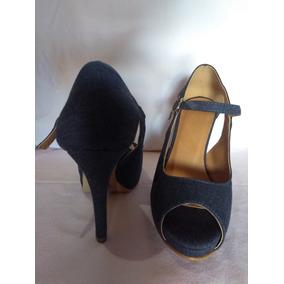 Sandalia Peep Toe Salto 11 Jeans Escuro
