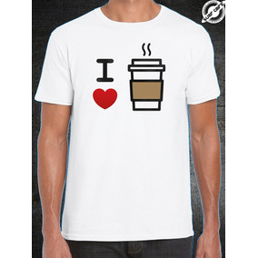 Playera Blanca Con Sublimado Yo Amo El Cafe Coffe