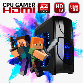 Cpu Gamer Minecraft Amd A4 Disco 1tb Ram 4gb Hdmi Gabinete