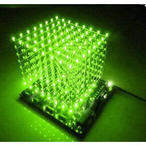 Cubo De Leds 3d 8x8x8 Verde Kit Para Montar Ultimas Peças
