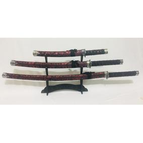 Kit Com 3 Espadas Samurai Katana Ninja Conjunto Decorativas