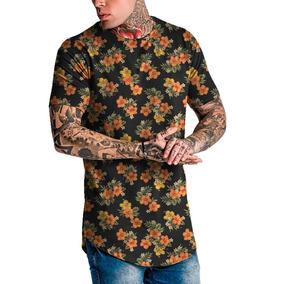 Camiseta Masculina Camisa Longline Floral Margarida Top Swag