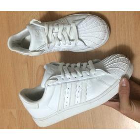 Tenis adidas Pure White Stripes Piel 24 100% Originales!!