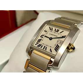 Cartier Tank Frances 9cito Mediano Full Set Acero Oro Fecha