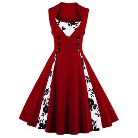 b95aee310fc3b Vestido Vintage Con Botón Mujer Lunares Estampado Floral Ve