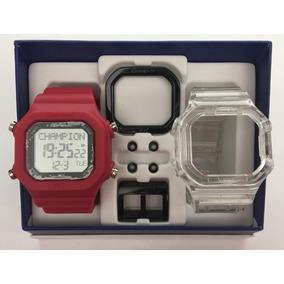 Relógio Champion Yot Kit Cereja E Transparente C/nf Cp40180x