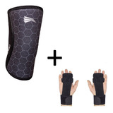 Kit Progne Joelheira 7mm + Luva Grip Leather Crossfit