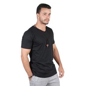 Kit C/7 Un Camisa Blusa Camiseta Masculina Gola V Basicas