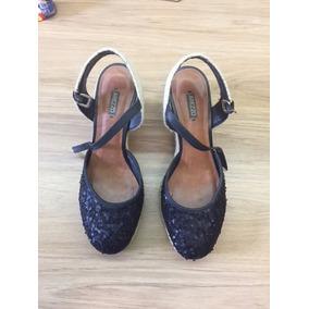 6cf806470 Sandalia Anabela Preta Em Paete - Sapatos no Mercado Livre Brasil