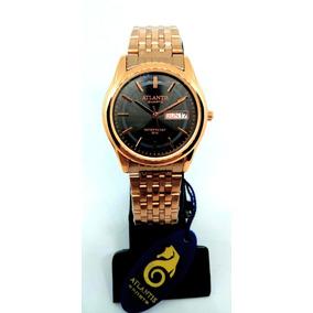 Relógio Feminino Atlantis B3215 Fundo Preto Rosê