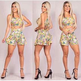 Conjunto De Shorts Curto E Cropped Verao Moda 2019 Promoção