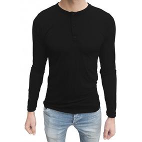 Camisa Masculina Slim Top Henley Manga Longa 5ab5febc15238