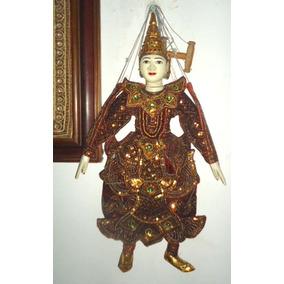 Boneco Marionete Titere Original Da Birmania Madeira/veludo