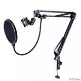 Braço Suporte De Mesa Articulado Pra Microfones+pop Filter.
