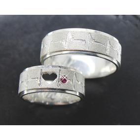 Par Alianças 7mm Prata 950 Coração Vazado Batimentos Cardíac