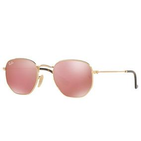 Culos Ray Ban Hexagonal De Sol - Óculos Dourado no Mercado Livre Brasil 41b7e4b24b