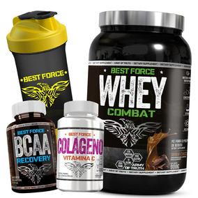 Whey Protein 1kg + Bcaa + Colágeno + Shaker - Best Force