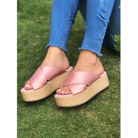 Sandalia Sueca Color Oro Rosa De Plataforma Envío Gratis 962ded546746
